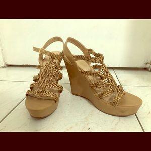 Shoes - Tan wedge heeled sandals LIKE NEW